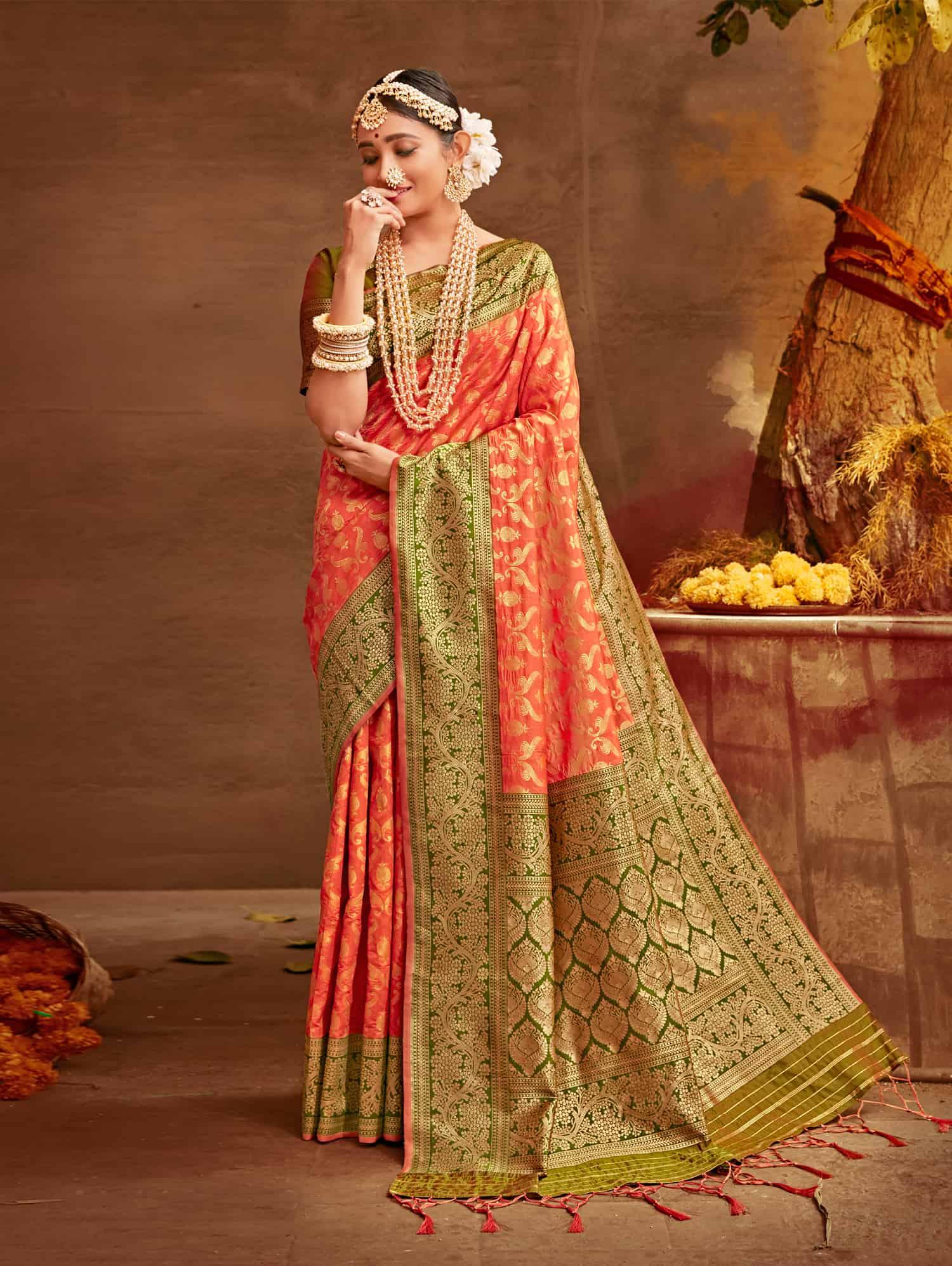 Peach Fancy soft silk Traditional saree dvz0002509