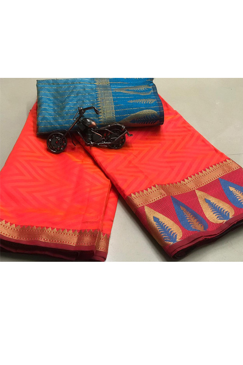 Peach Soft Cotton saree with weaving border and weaving blouse dvz0001138