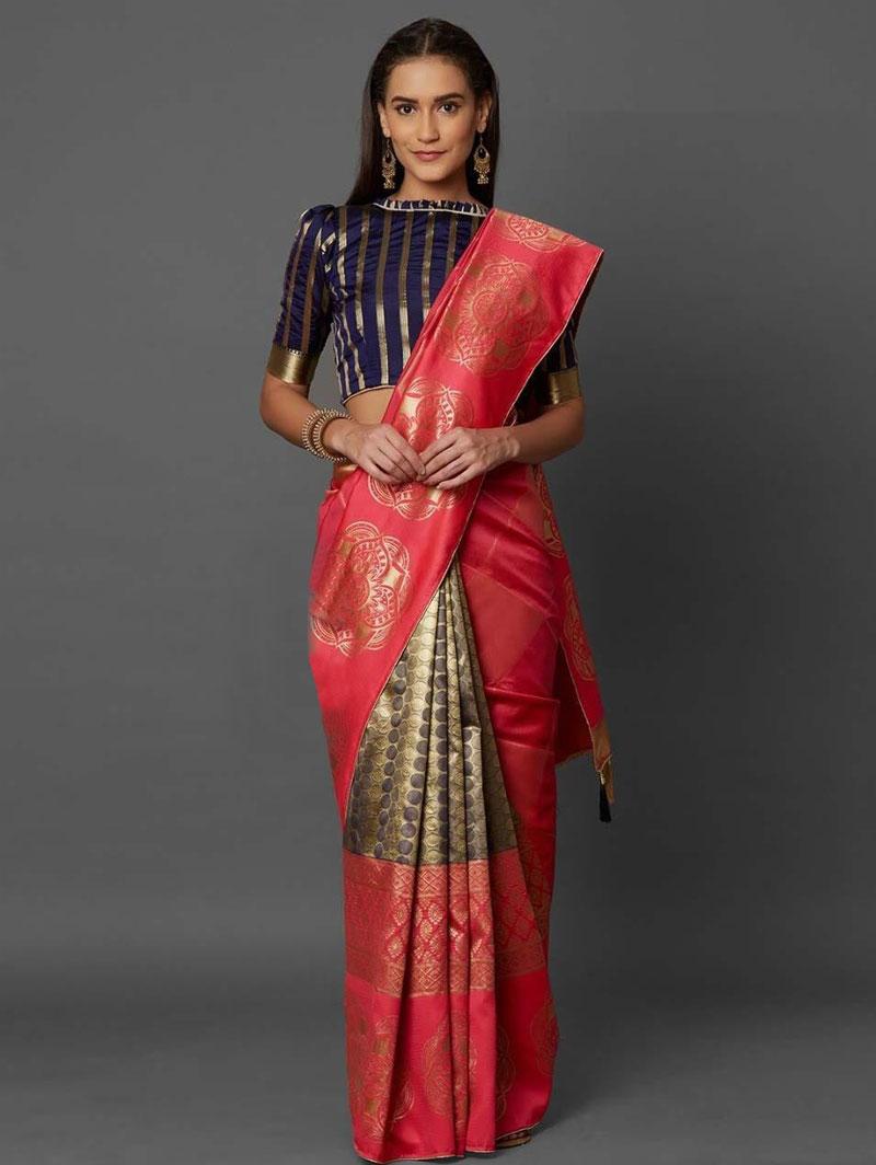 Peach Soft Silk Elegant Look Party wear Saree dvz0001330