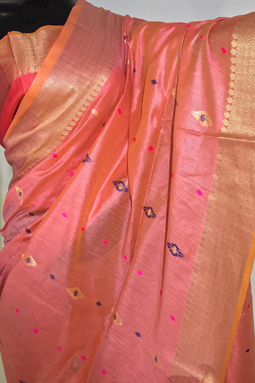 Peach Soft handloom cotton weaving saree with blouse piece dvz0001018-2