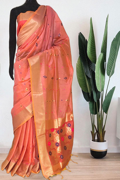 Peach Soft handloom cotton weaving saree with blouse piece dvz0001018