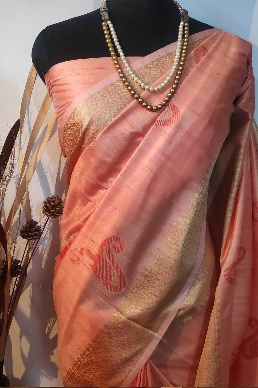 Peach Soft mulberry silk weaving saree with exclusive zari woven butta and pallu with matching blouse piece dvz0001015-2