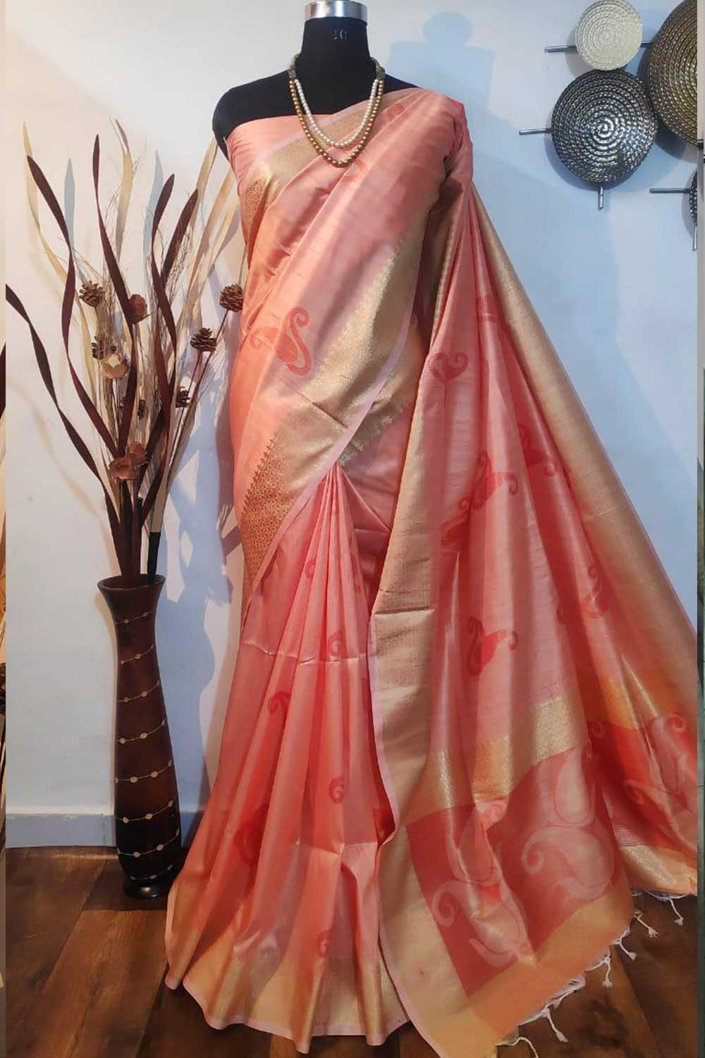Peach Soft mulberry silk weaving saree with exclusive zari woven butta and pallu with matching blouse piece dvz0001015