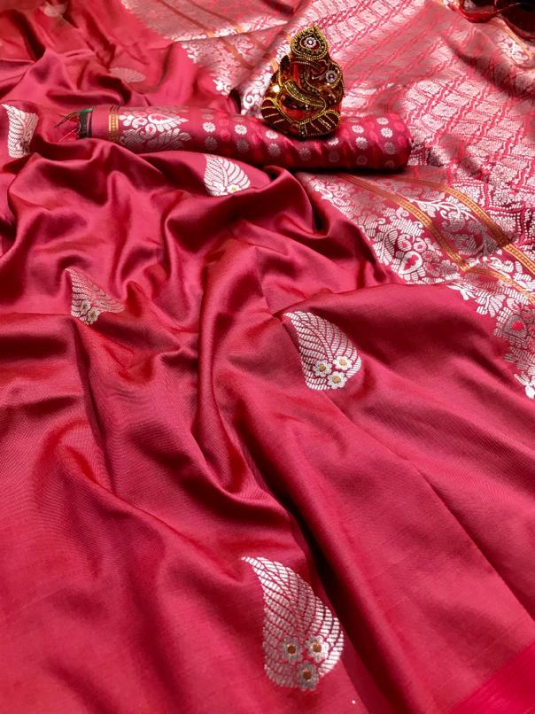 Peach lichi silk saree with weaving zari with jalar dvz0001671