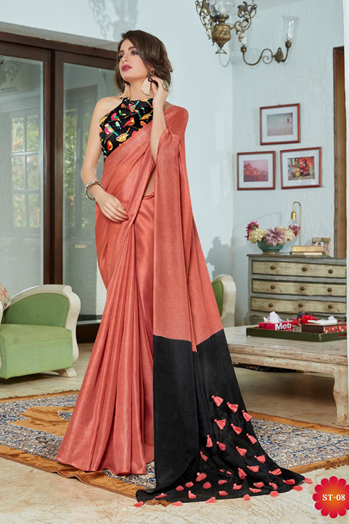 Peach linen separate cotton digital blouse with fancy tassels dvz0001050