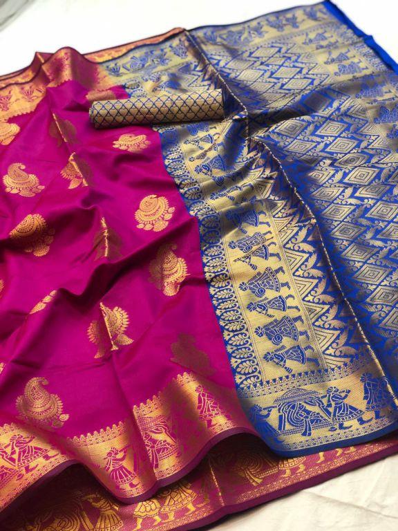 Pink Banarasi silk Weaving zari work saree dvz000016