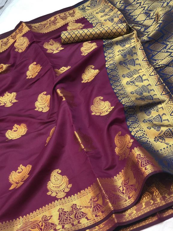 Magenta Banarasi silk Weaving zari work saree dvz000017
