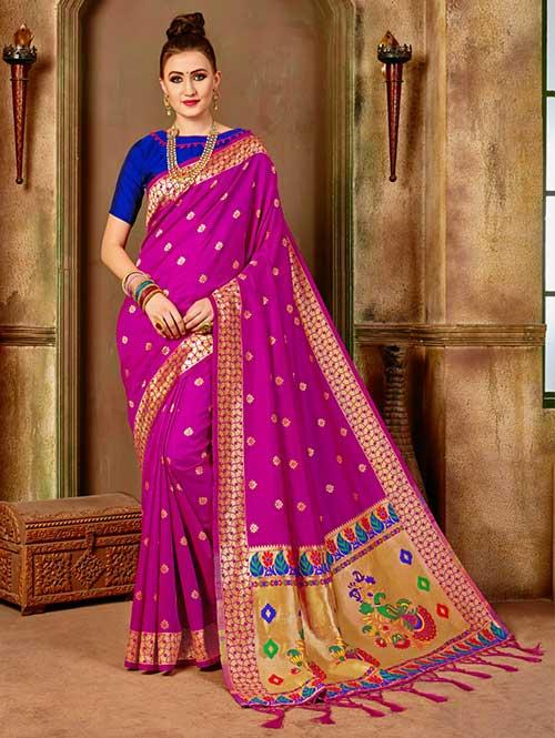 Pink Banarasi silk woven saree with blouse piece - Banarasi silk saree dvanza