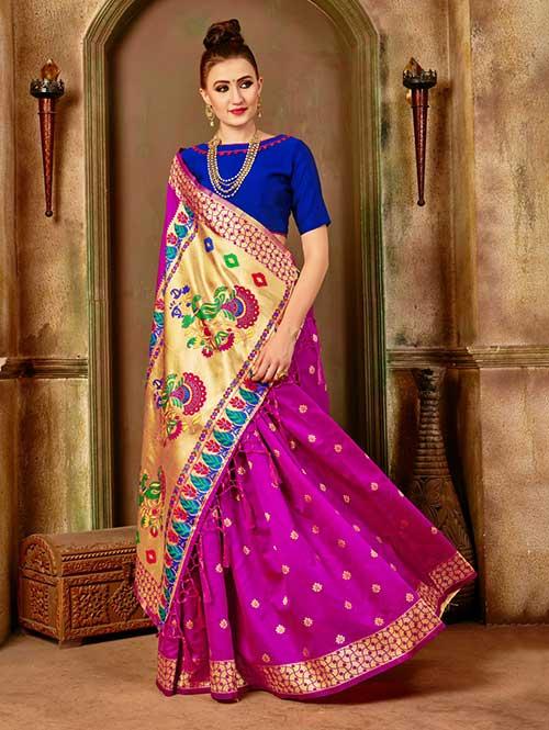 Pink Banarasi silk woven saree with blouse piece - Banarasi silk saree online dvanza