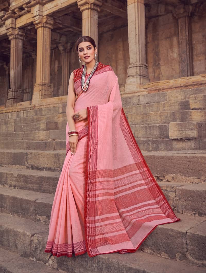 Pink Branded Soft Linen silk Traditional saree dvz0001787-2