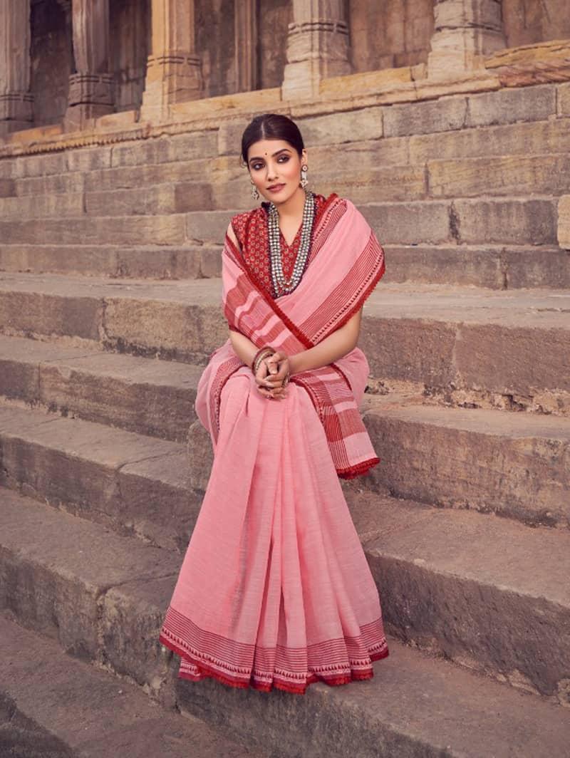 Pink Branded Soft Linen silk Traditional saree dvz0001787