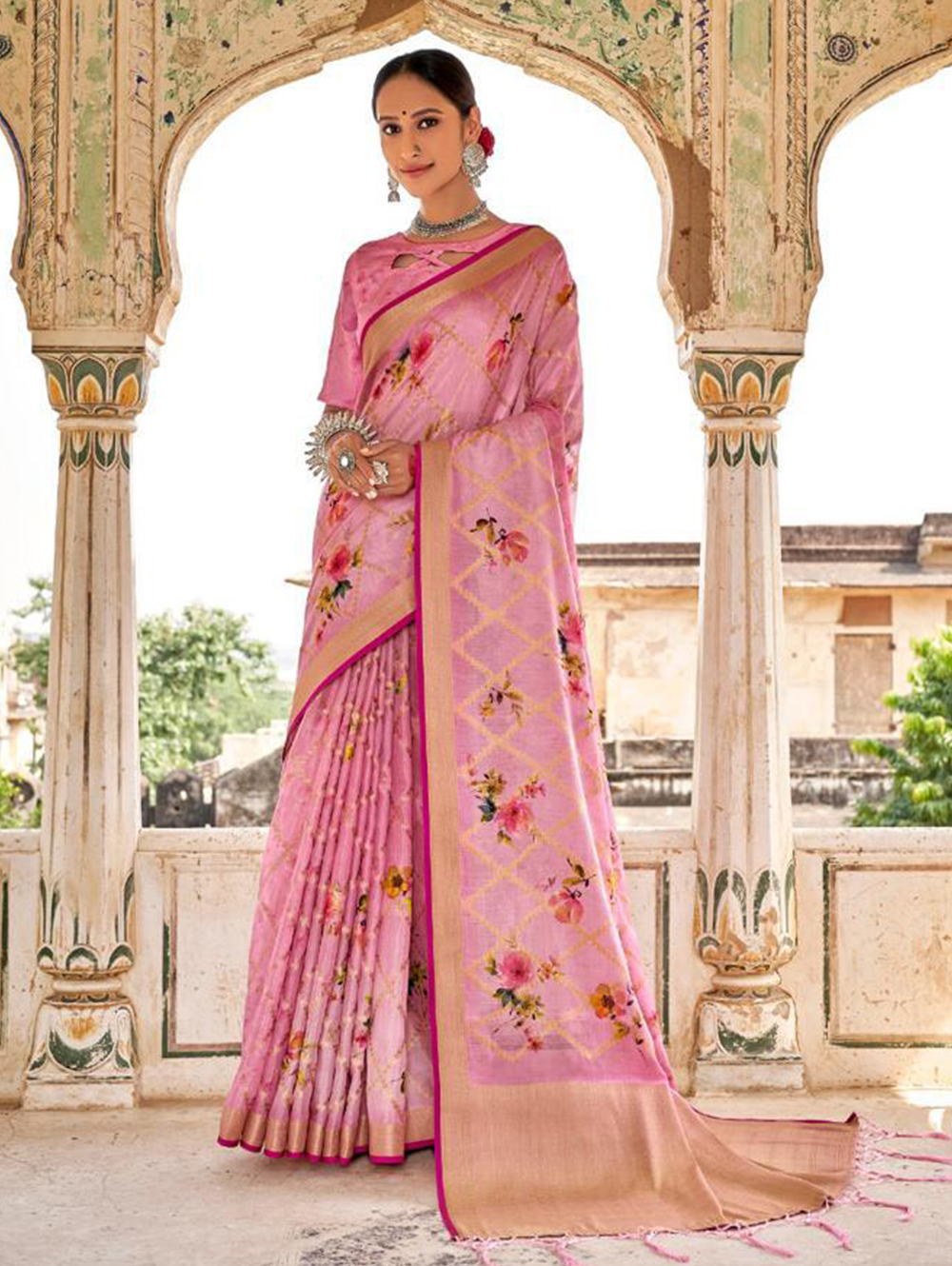 Pink Digital Printed Muslin silk saree dvz0001423 - Branded saree for ladies