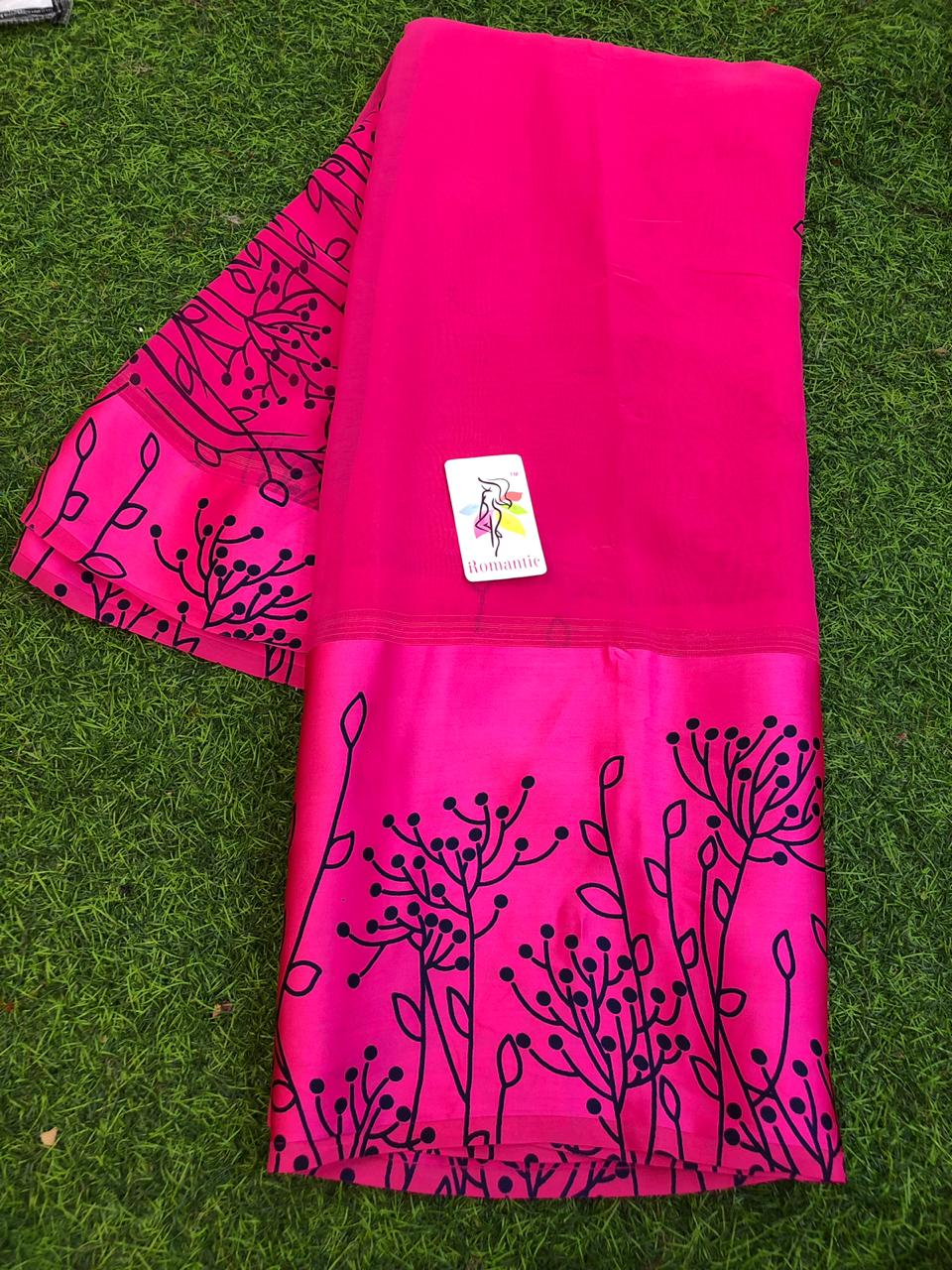 Pink Georgette Designer saree with 9 inch Satin border - ethnic online store