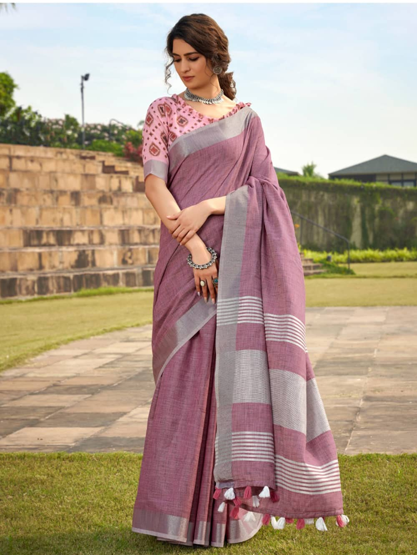 Pink Linen Winter Special Saree With Blouse Piece dvz0001448