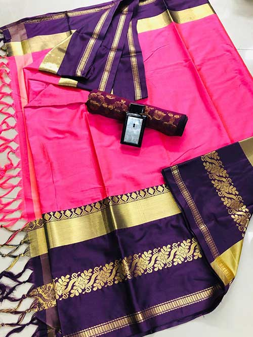Pink Purple cotton silk saree - silk sarees online - saree duniya