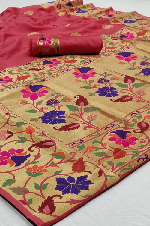 Pink Soft Paithini Silk saree dvz0001189
