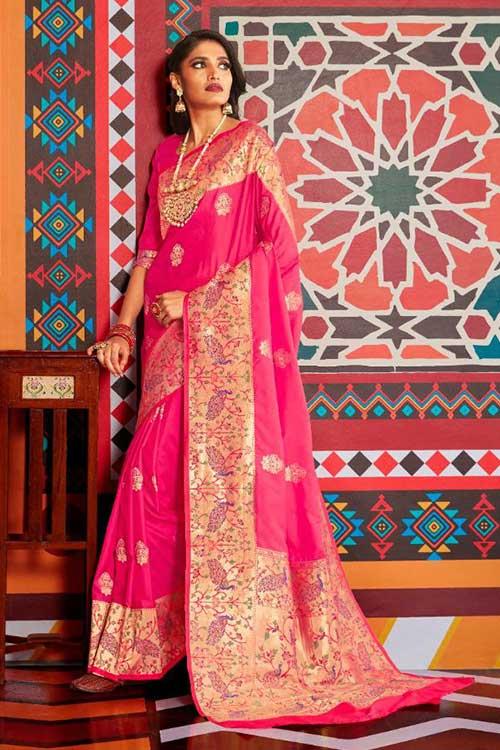 Pink Soft Paithini Silk saree - paithani silk saree blouse design dvz0001187