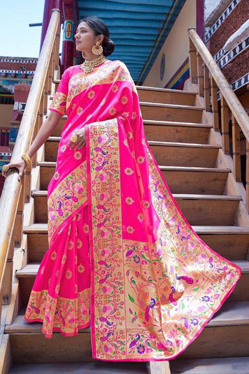 Pink Soft Paithini Silk saree - paithani silk saree blouse design dvz0001188