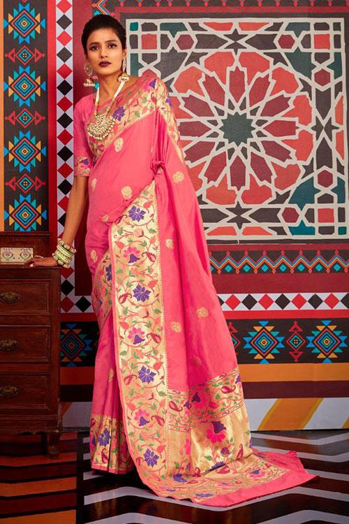 Pink Soft Paithini Silk saree - paithani silk saree blouse design dvz0001189