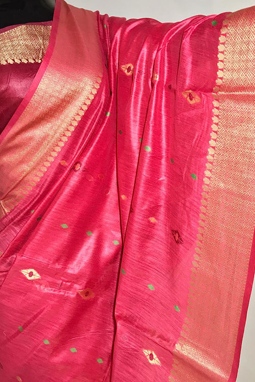 Pink Soft handloom cotton weaving saree with blouse piece dvz0001019 -2