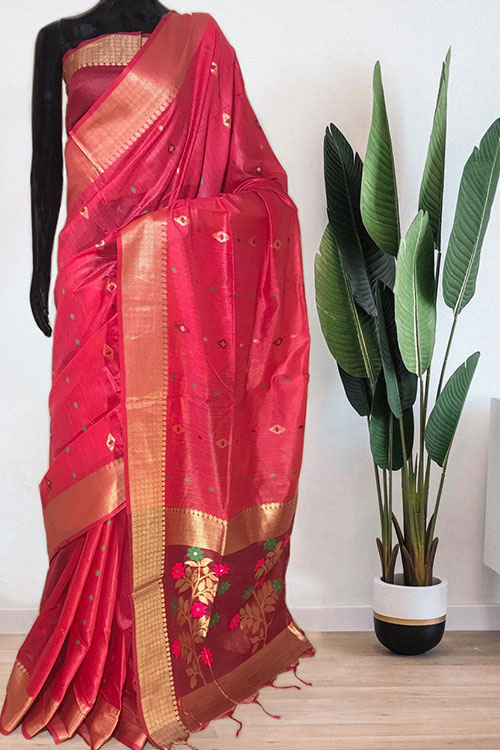 Pink Soft handloom cotton weaving saree with blouse piece dvz0001019