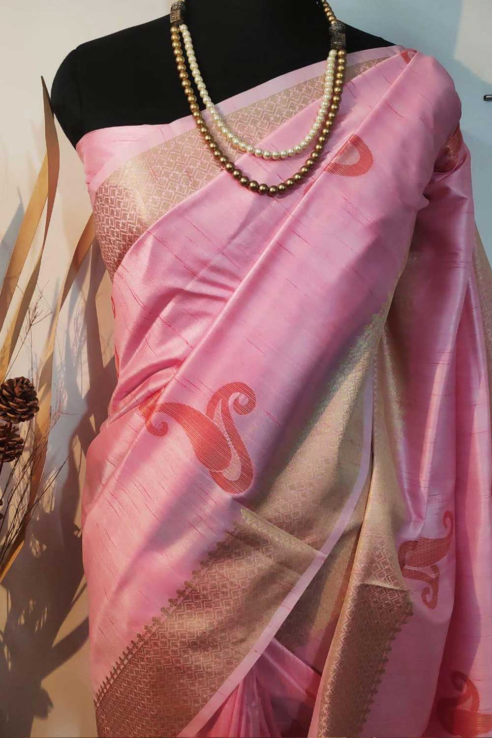 Pink Soft mulberry silk weaving saree with exclusive zari woven butta and pallu with matching blouse piece dvz0001014-2