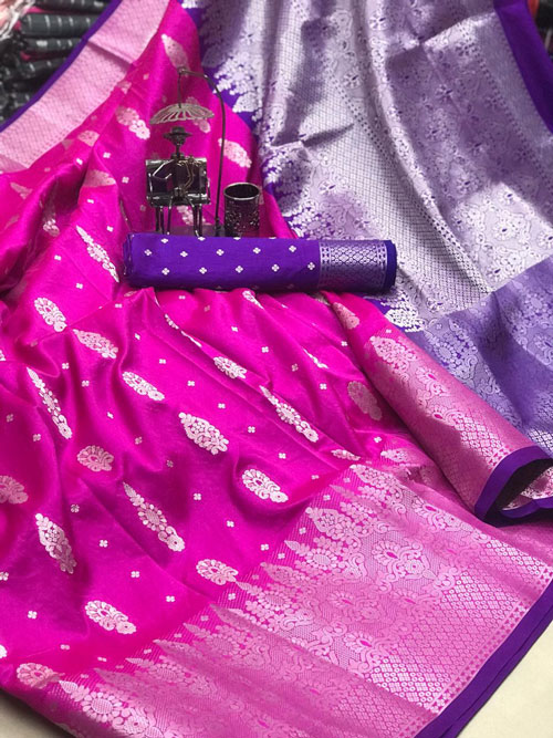 Pink Soft & pure Lichi silk with beautiful zari weaving Border saree dvz0001207