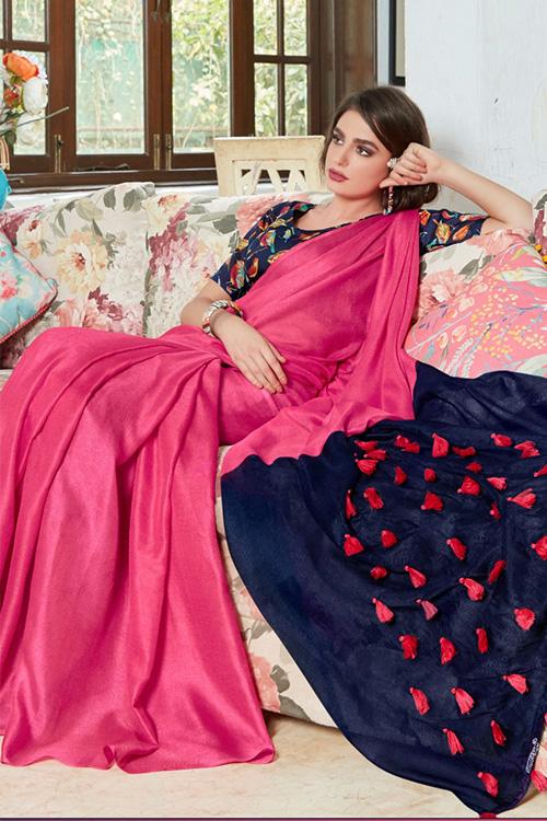 Pink linen separate cotton digital blouse with fancy tassels dvz0001056-2