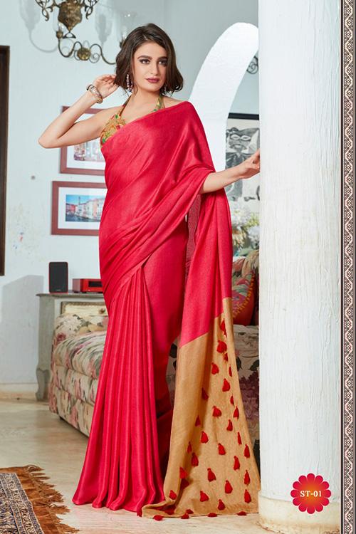 Pink linen separate cotton digital blouse with fancy tassels dvz0001057