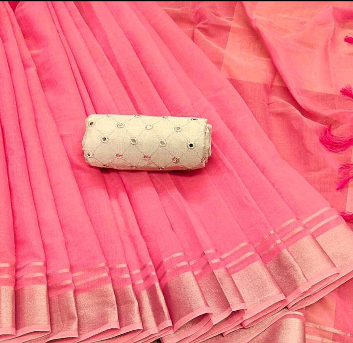Plain Pink linen cotton saree with embroidery mirror blouse dvz0001140