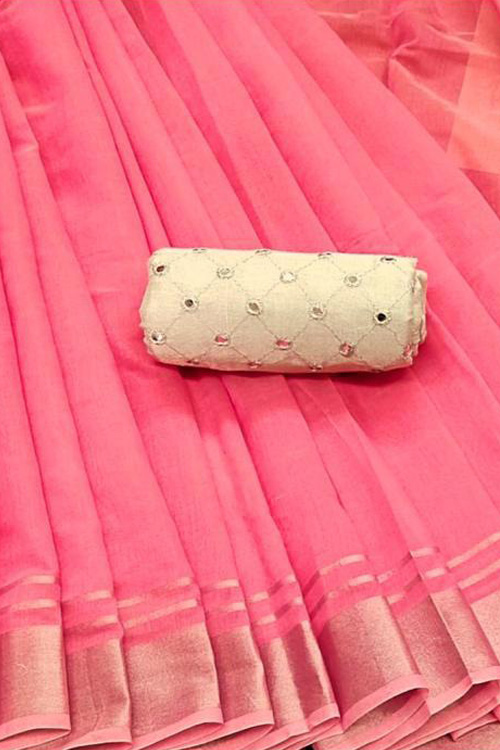 Plain Pink linen cotton saree with embroidery mirror blouse online dvz0001140