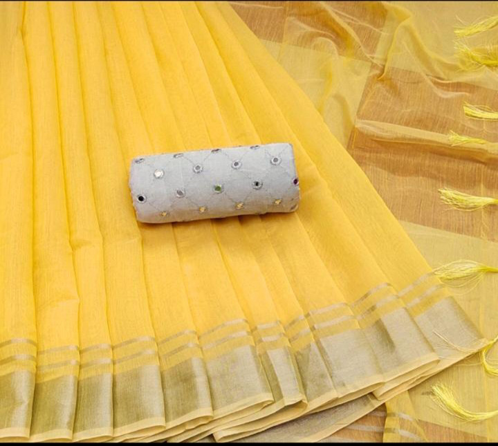 Plain Yellow linen cotton saree with embroidery mirror blouse online dvz0001141-2