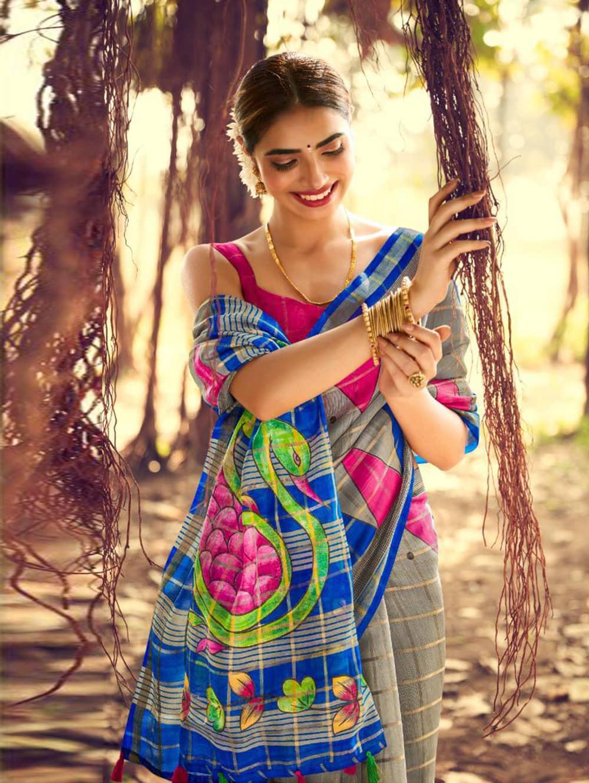 Printed Linen check pattern saree dvz0002570-2