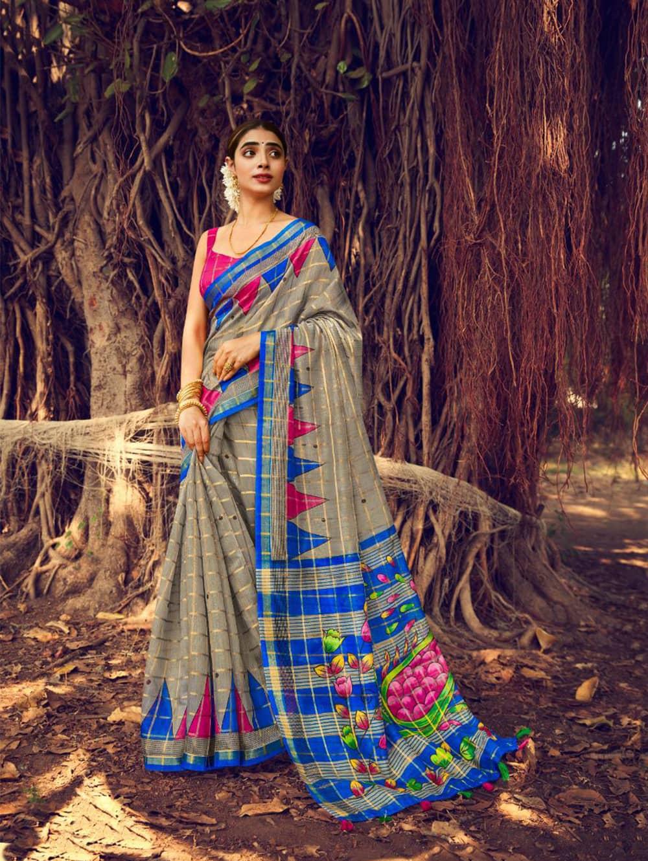 Printed Linen check pattern saree dvz0002570