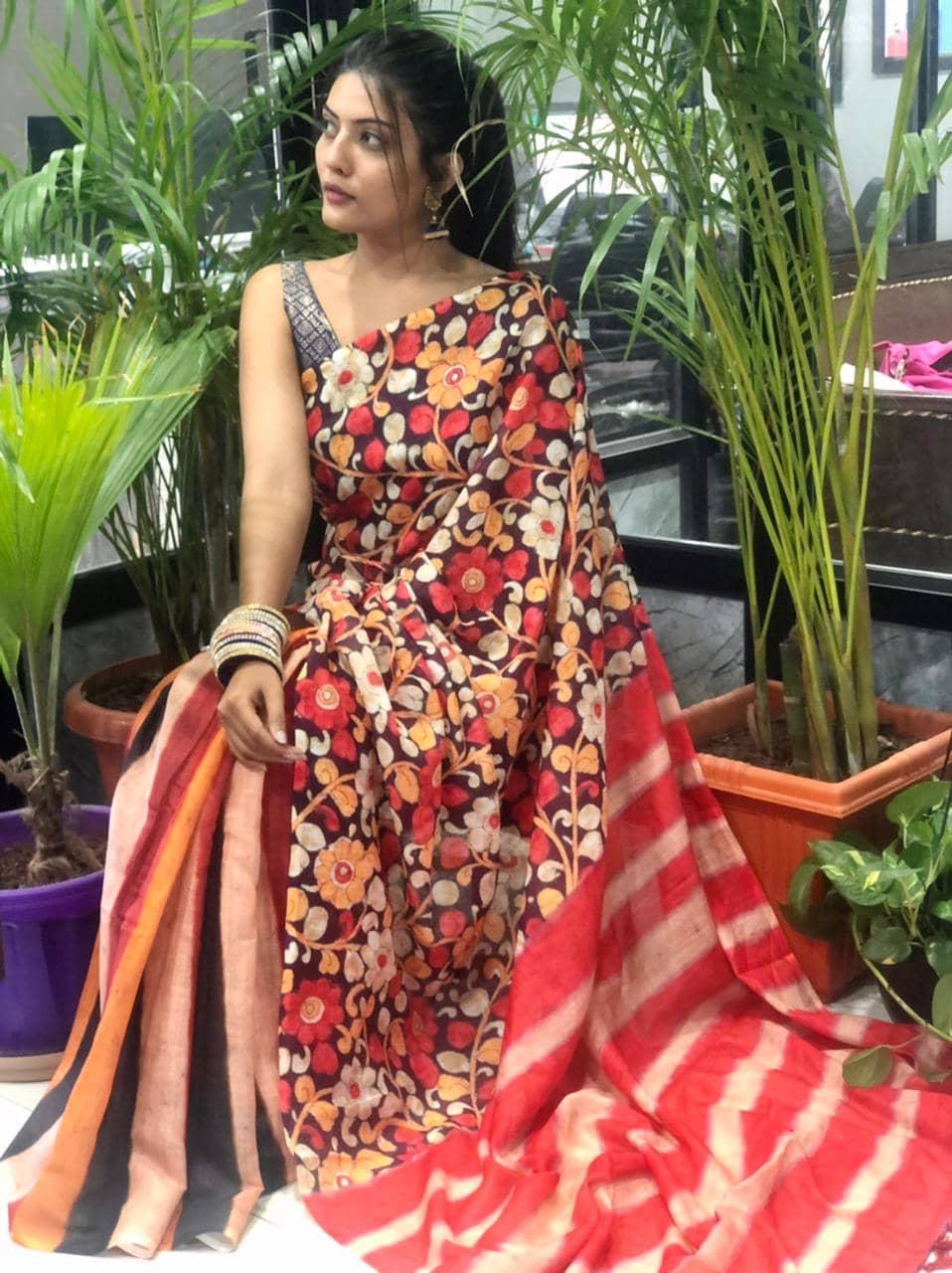 Printed linen Kamalkari sarees online dvz0001918