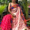 Printed linen Kamalkari sarees online dvz0001920