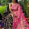 Printed linen Kamalkari sarees online dvz0001921