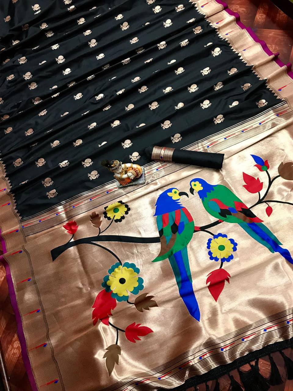 Pure Black Kanchipuram Traditional saree dvz0002204