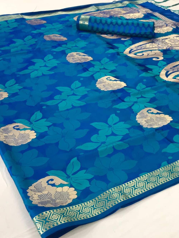Pure Satin Weaving Silk Sarees in Blue dvz0001438
