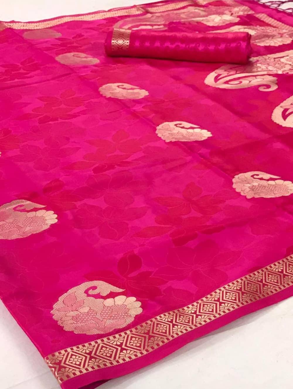 Pure Satin Weaving Silk Sarees in Pink dvz0001442