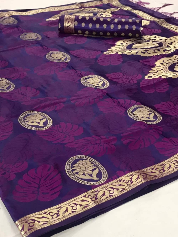 Pure Satin Weaving Silk Sarees in Purple dvz0001439
