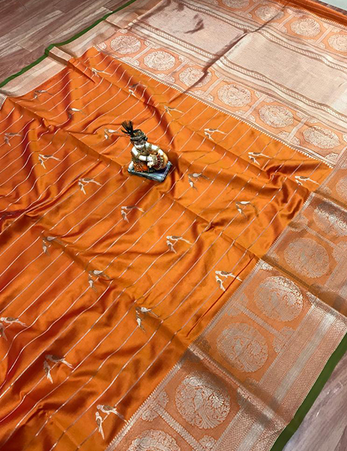 Pure jacquard orange saree with silver gold zari work saree dvz0001835