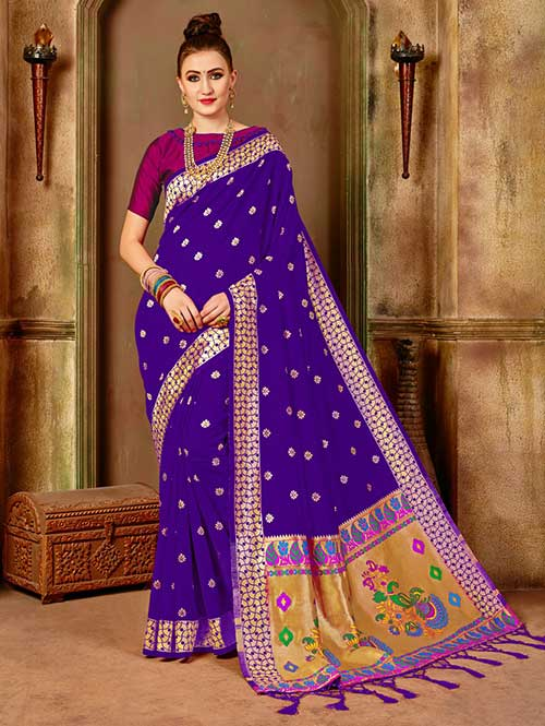 73636b1b3e6fa3 Purple Banarasi silk woven saree with blouse piece - Banarasi silk saree