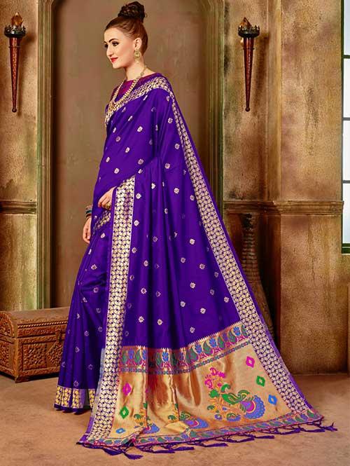 Purple Banarasi silk woven saree