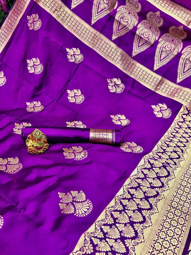 Purple Soft Banarasi Cotton Silk Saree dvz0002431