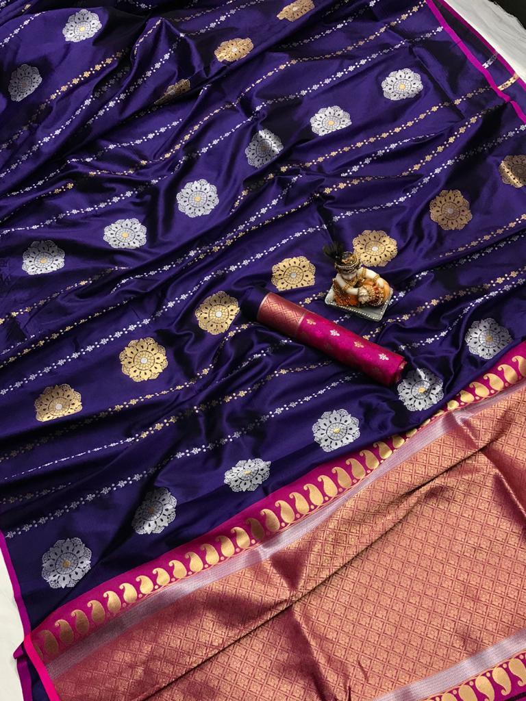 Purple Soft Banarasi Lichi Silk Saree dvz0002203