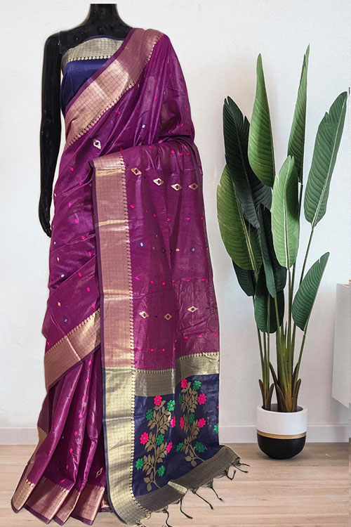 Purple Soft handloom cotton weaving saree with blouse piece dvz0001020