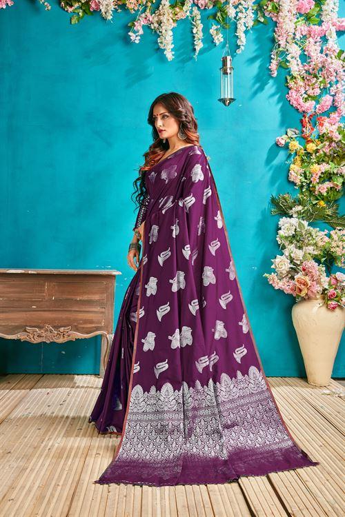 Purple silk woven saree - silk sarees online - silver zari banarasi silk - shop now