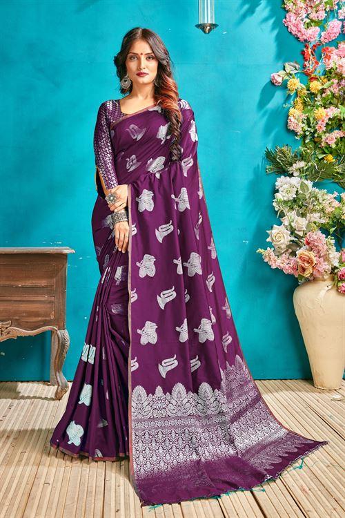 Purple silk woven saree - silk sarees online - silver zari banarasi silk