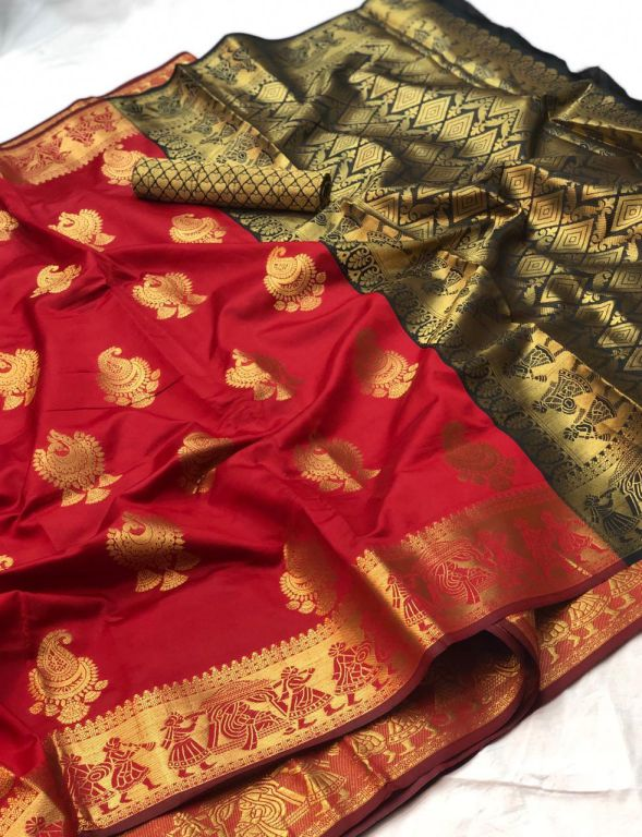 Red Banarasi silk Weaving zari work saree dvz000012 - dvanza.com
